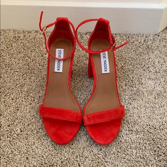 3ea645d285e Red suede strappy Steve Madden heels NwoT